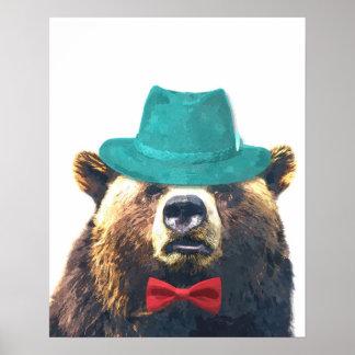 Poster La crèche animale d'ours mignon et drôle badine la