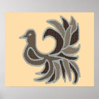 Poster La fantaisie pique l'oiseau de patchwork