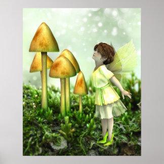 Poster La fée curieuse - affiche de fée et de champignons