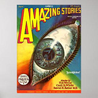 Poster La future science-fiction déplaisante vintage