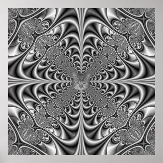 Poster La géométrie gothique en affiche monochrome + chat