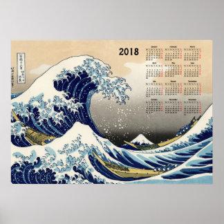 Poster La grande vague outre du calendrier de Kanagawa
