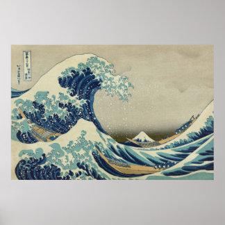 Poster La grande vague par Hokusai, art vintage de bloc