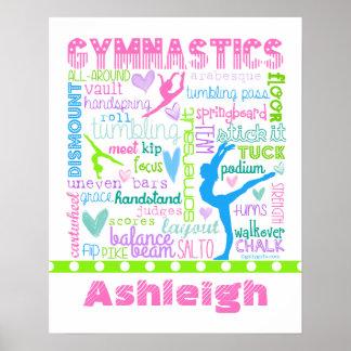 Poster La gymnastique en pastel personnalisée exprime la
