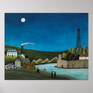 Poster La la Seine un Suresnes par Henri Rousseau, art