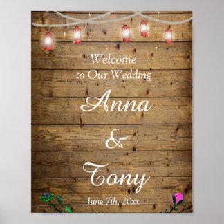Poster La lanterne rustique allume l'affiche de mariage
