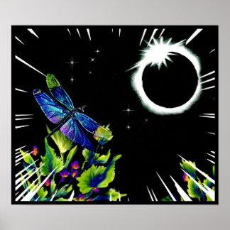 Poster La libellule observe toute l'éclipse solaire 2017