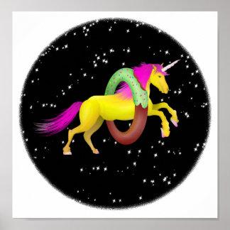 Poster La licorne sautant par un beignet