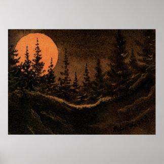 """Poster La """"lune du chasseur - affiche de paysage de"""