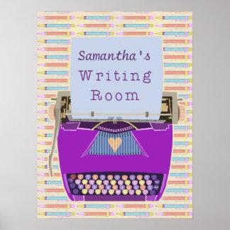 Poster La machine à écrire écrit la pièce d'écriture