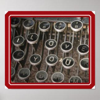 """Poster La machine à écrire verrouille """"je t'aime """""""