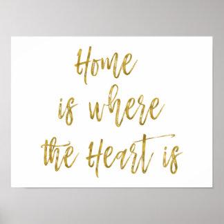Poster La maison est où le coeur est citation inspirée