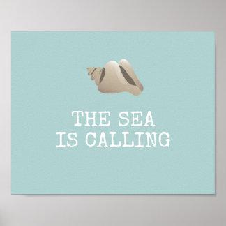 Poster La mer appelle le coquillage de | personnalisent