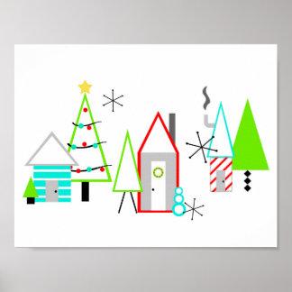Poster la moitié du siècle de village de Noël moderne