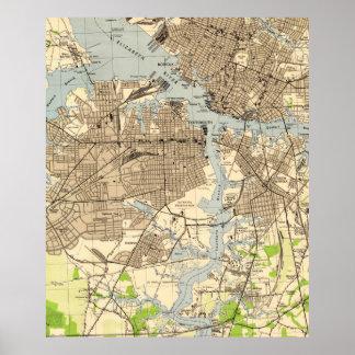 Poster La Norfolk vintage et Portsmouth la Virginie Map