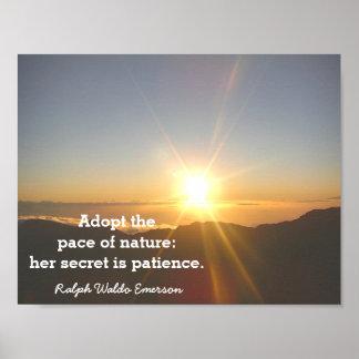 Poster La patience de la nature - citation d'Emerson -