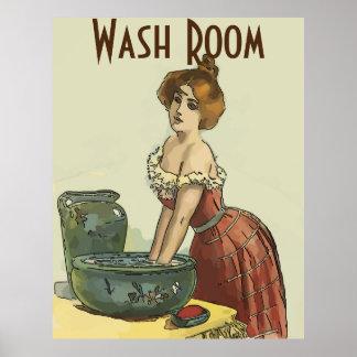 Poster La pièce de lavage vintage, éditent le texte