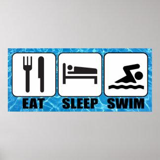 """Poster La piscine/centre aquatique """"mangent, dorment,"""