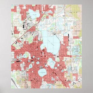 Poster La Région des lacs la Floride Map (1994)
