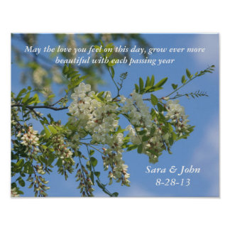Poster La sauterelle blanche fleurit l'affiche de mariage