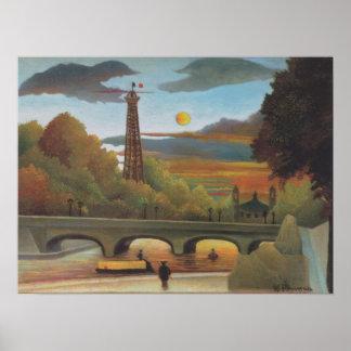 Poster La Seine et Tour Eiffel au coucher du soleil par