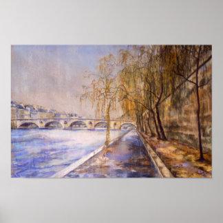 Poster La Seine sous la pluie par Schelly Keefer
