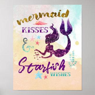 Poster La sirène embrasse des souhaits d'étoiles de mer