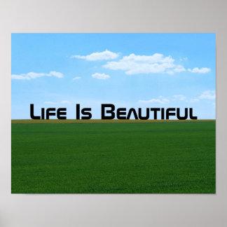 """Poster La """"vie est beau"""" paysage personnalisable"""