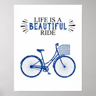 Poster La vie est un beau tour - bicyclette - l'affiche