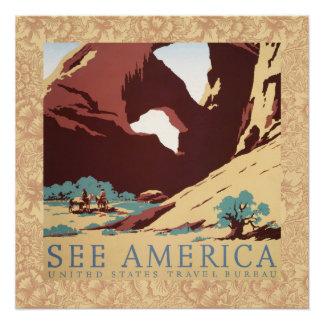 Poster La voûte vintage de canyon de roche de désert de