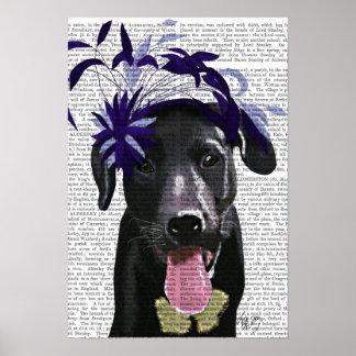 Poster Labrador noir avec Fascinator bleu