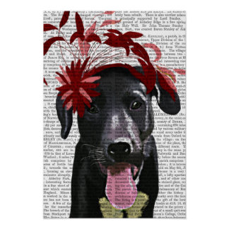 Poster Labrador noir avec Fascinator rouge
