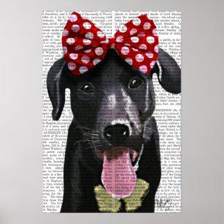 Poster Labrador noir avec l'arc rouge sur la tête