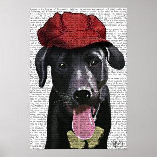 Poster Labrador noir avec le casquette rouge