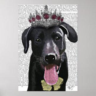 Poster Labrador noir avec le diadème