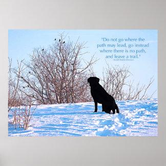 Poster Labrador noir - citation de la vie de chemin