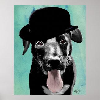 Poster Labrador noir dans le casquette de lanceur