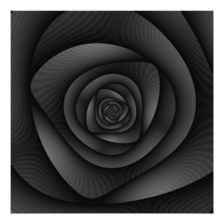 Poster Labyrinthe en spirale d'affiche dans le monochrome