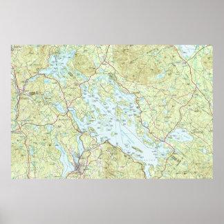 Poster Lac Winnipesaukee Map (1986)