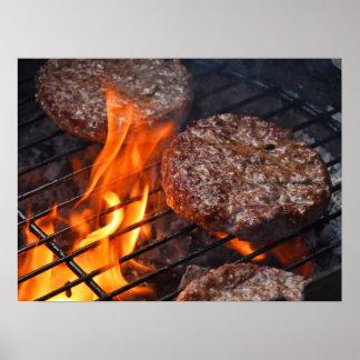 Poster L'affiche avec des hamburgers de barbecue de