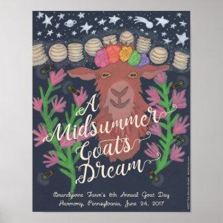 Poster L'affiche rêveuse d'une chèvre de milieu de l'été