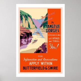 L'affiche vintage de voyage de gorges de Yangtsze