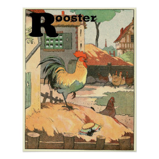 Poster L'alphabet de livre de contes de coq