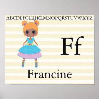 Poster L'alphabet mignon de poupée de chiffon marque avec