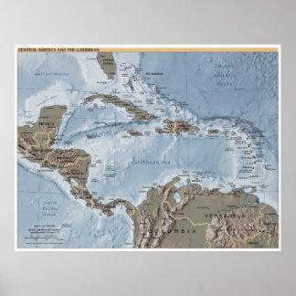 Poster L'Amérique Centrale et la carte des Caraïbes
