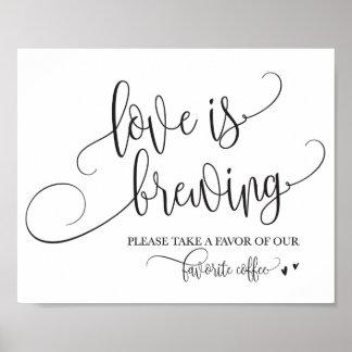 Poster L'amour brasse le signe de mariage de café
