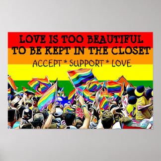 Poster L'amour de LGBT est belle AFFICHE d'arc-en-ciel de