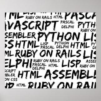 Poster Langages de programmation (Java, Pascal) - noir