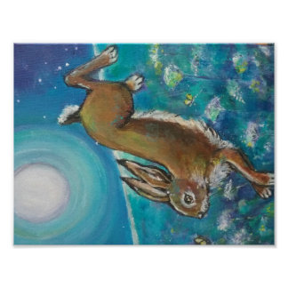 Poster Lapin chassant des lucioles
