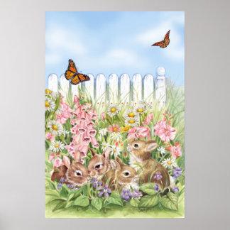 Poster Lapins dans le jardin